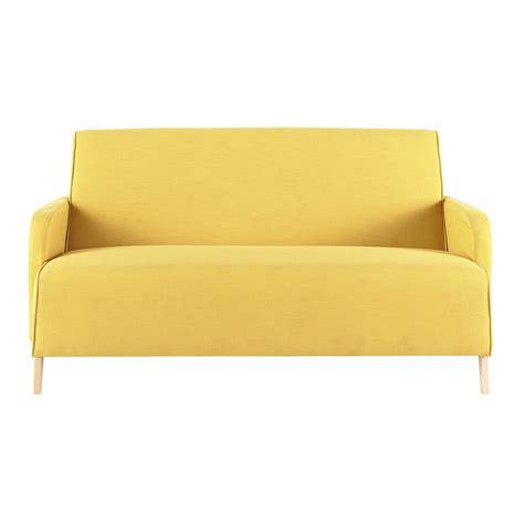 canapé jaune canapé 2 places en tissu jaune adam maisons du monde