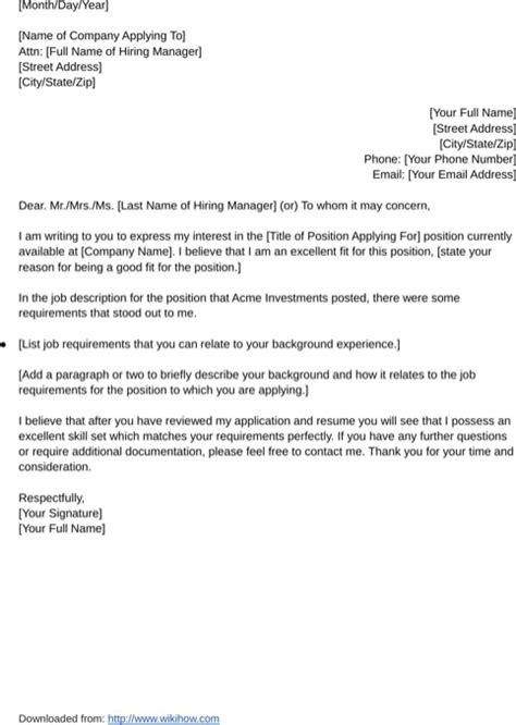 letter  application sample   formtemplate