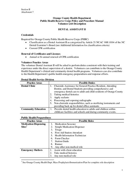 dental assistant description for resume resume for