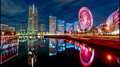 Tokyo Lights Japan Ferris Wheel Reflection Desktop