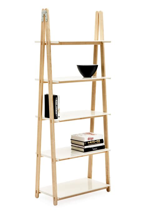 step  shelf bookcase wood white  normann