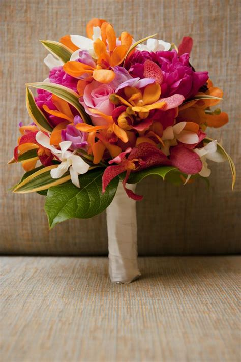tropical bridal bouquet yellow pinks white island