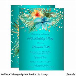 Teal Blue Yellow Gold Palms Floral Birthday Invitation