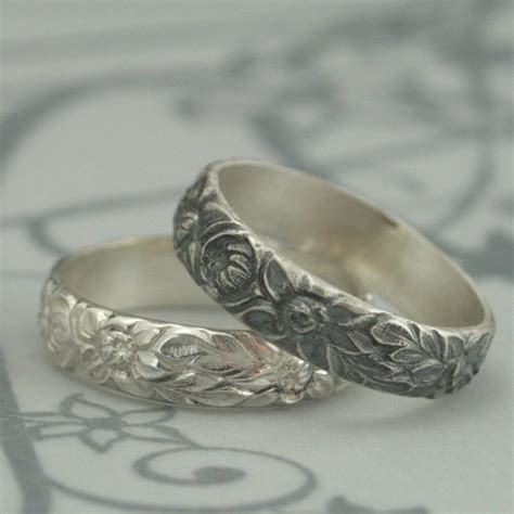 antique style wedding ring  dahlia band sterling