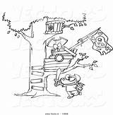 Coloring Tree Pages Magic Outline Cartoon Drawing Treehouse Boy Pirate Vector Near Playing Printable Sheets Template Houses Clipart Getdrawings Drawings sketch template