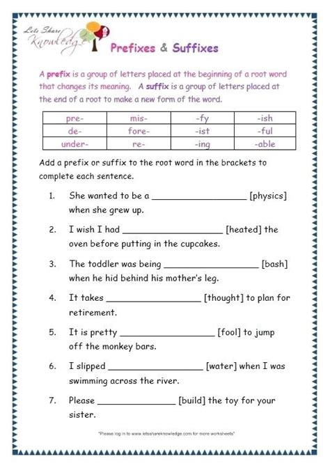 prefix  suffix worksheets middle school worksheets master