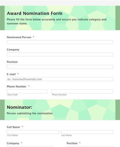 organization awards nomination form template jotform