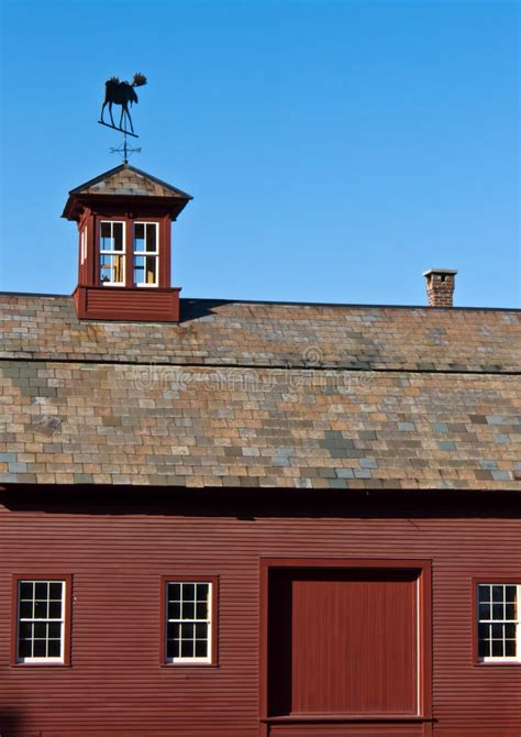 red barn  slate roof  cupola stock photo image