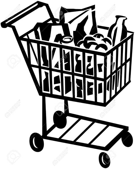 grocery clipart black and white shopping cart clipart free clipground