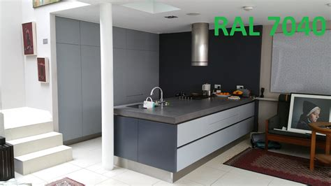 paint kitchen island ral 7040 ral 7015 kitchen resprayed in custom colour