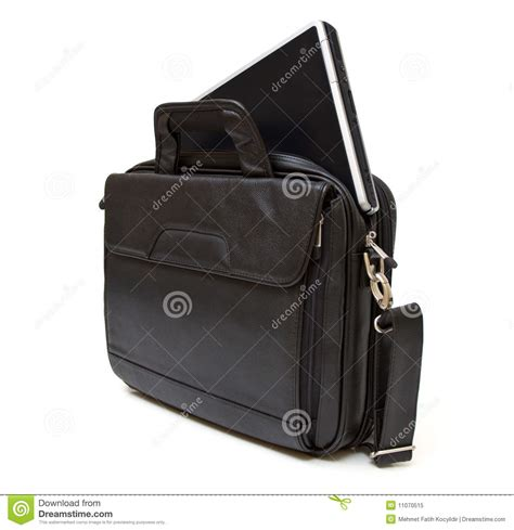 Black Leather Computer Bag With Laptop Royalty Free Stock
