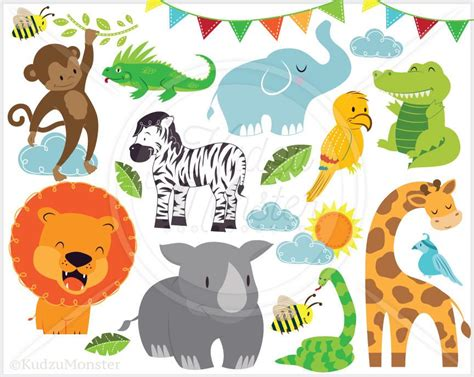 cute jungle animal clip art graphics kudzu monster