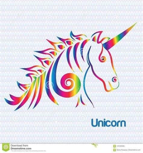 l unicorno cavallo ha stilizzato assorbendo il vettore dell icona di logo di colore dell