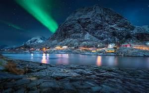 Lofoten, Norway, Polar, Night, Green, Light, Star, Sky, Night, Landscape, Desktop, Hd, Wallpaper, For, Mobile
