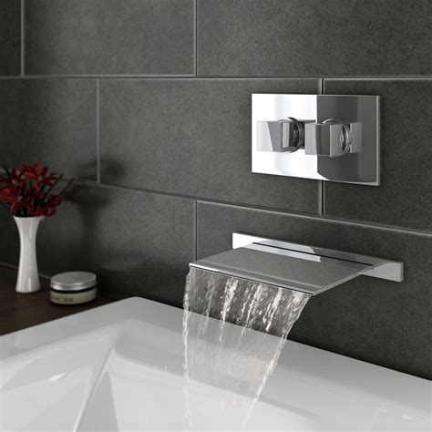 Wall Mounted Bath Filler And Shower by Plaza Wall Mounted Waterfall Bath Filler With Concealed