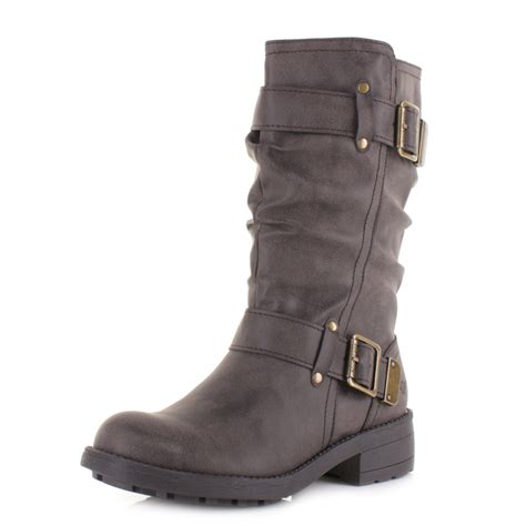 womens brown biker boots womens rocket dog trumble galaxy brown slouch calf low