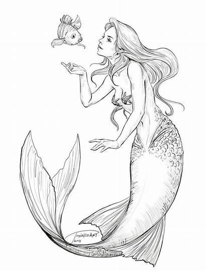 Mermaid Ariel Coloring Deviantart Flounder Drawings Pages
