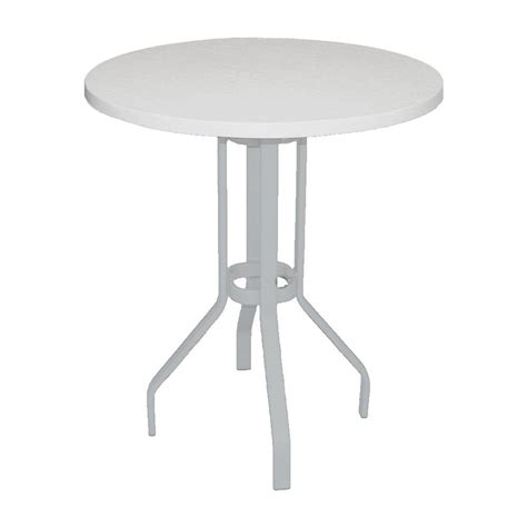 round metal outdoor table marco island 36 in white round commercial fiberglass top