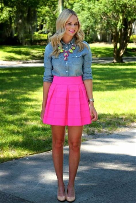 Picture Of With denim shirt statement necklace and beige shoes