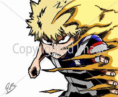 Bakugou Explosion Drawing Boku Academia Hero