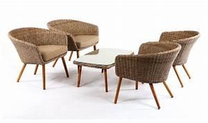 Salon Jardin Bas : salon bas vintage en bois massif et rotin haut de gamme 4 places ~ Teatrodelosmanantiales.com Idées de Décoration
