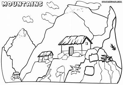 Coloring Mountain Mountains Pages Scenery Children Tiny