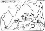 Coloring Mountain Mountains Pages Children Tiny Houses Scenery Nature Mountain1 sketch template