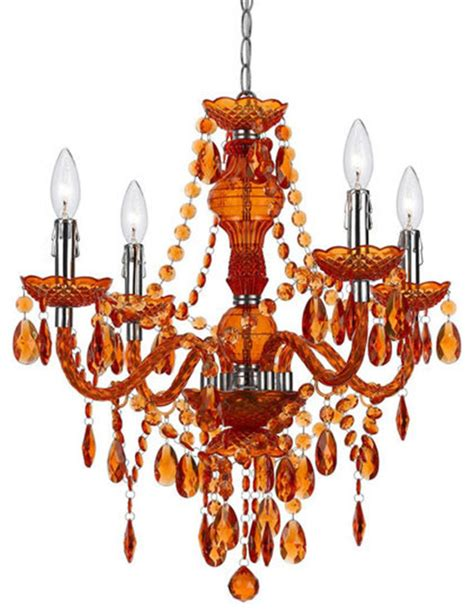 beaded chandelier in orange