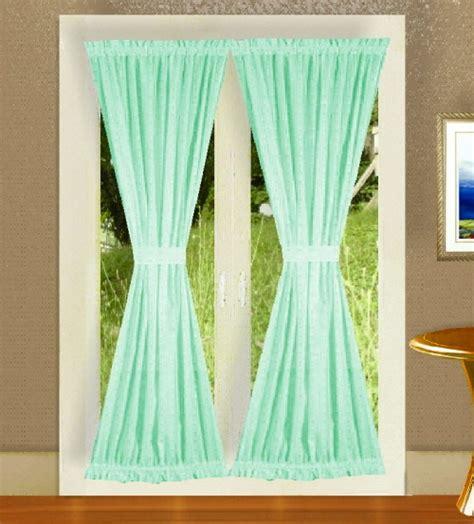 mint green door curtains