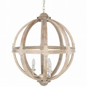 Hicks and dene round wood pendant light