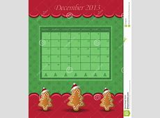 Calendar December Christmas 2013 Tree Green Red Stock