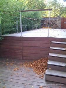 Escalier Terrasse Bois : terrasse bois en hauteur sur pilotis suspendue sur ~ Nature-et-papiers.com Idées de Décoration
