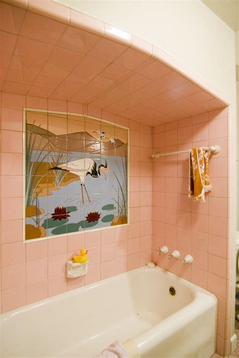 pink bathroom cranes  amy hengst flickr