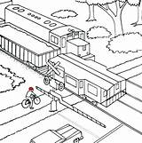 Train Coloring Pages Railroad Freight Crossing Caboose Railway Printable Diesel Bullet Drawing Cross Coloring4free Trains Outline Rail Drawings Template Steam sketch template