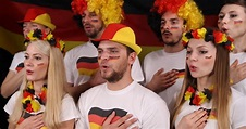 People Crowd German Supporters Sing Stock Footage Video ...