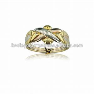 14k solid tri color gold turkish 4 band wedding puzzle With turkish wedding ring puzzle