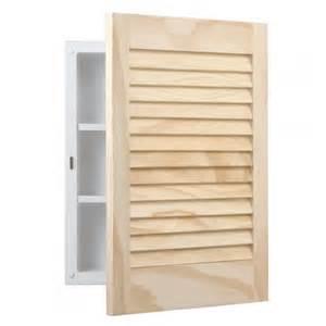 basic pine louver recessed medicine cabinet unfinished pine bathroom