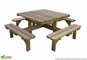 Table Bois Pique Nique : table de pique nique en bois trait octave 210x210x74 5cm forest style ~ Melissatoandfro.com Idées de Décoration