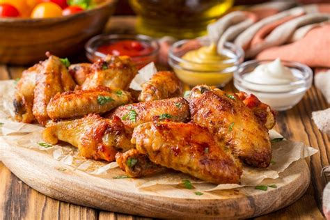 chicken wings fryer air grilled recipe bbq buffalo mustard ketchup sauces wooden baked traditional board which shutterstock directions