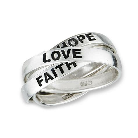 3 band sterling silver hope faith love rolling russian wedding ring size 6 10 ebay