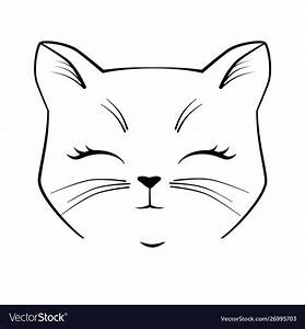 Cat, Cute, Face, Black, Outline, Drawing, Kitten, Vector, Image