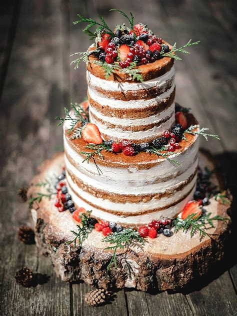 semi naked naked rustic wedding cakes
