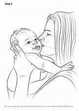 Step Draw Baby Drawing Kissing Mother Tutorials Drawingtutorials101 Tutorial sketch template