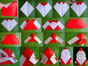 How to fold origami paper craft Santa step by step DIY ...
