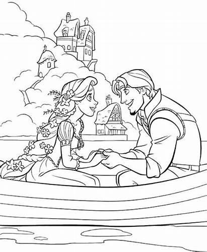 Coloring Rapunzel Pages Tangled Disney Princess Flynn