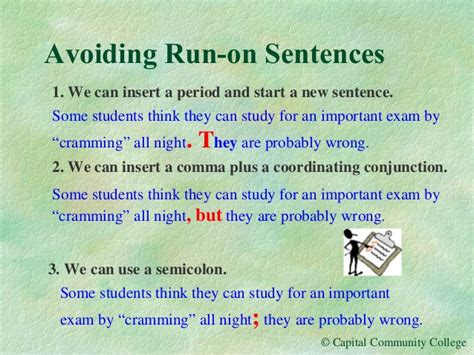 Avoiding Run On Sentences