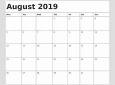 August 2019 Calendar PDF calendar weekly printable
