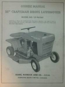 Sears Craftsman Riding Lawn Mower Owner  Parts  U0026 Engine  2