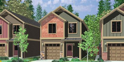 Plan 8133LB: Compact Townhouse Narrow house plans