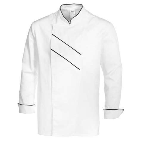 veste de cuisine homme brodé veste cuisine grand chef blanc avec passepoil et rayures noir